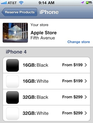 iPhone 4 White in Apple Store