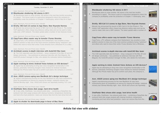 Reeder for iPad vs. Mobile RSS HD
