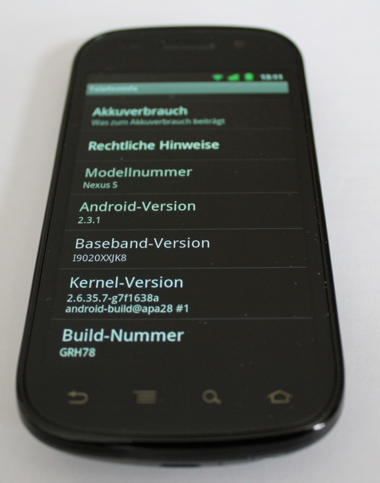 Android 2.3 Gingerbread auf Nexus S