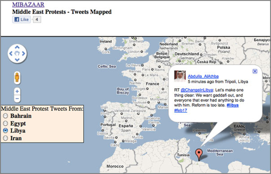 Google maps Twitter Map
