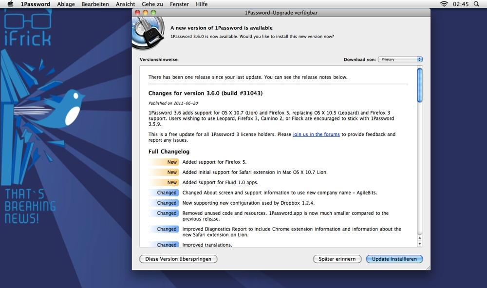 1Password nun OS X Lion und Firefox 5 kompatibel - iFrick ch