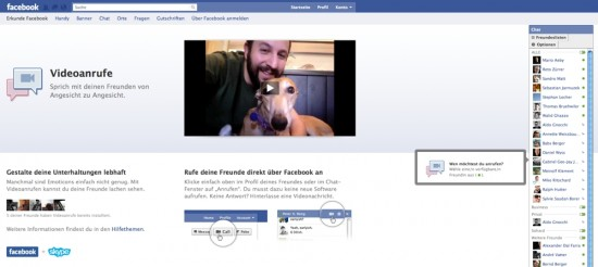 Facebook Skype Videocalling