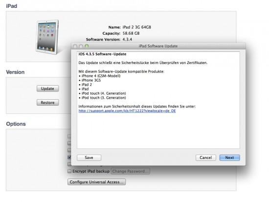 Apple iOS 4.3.5 Update