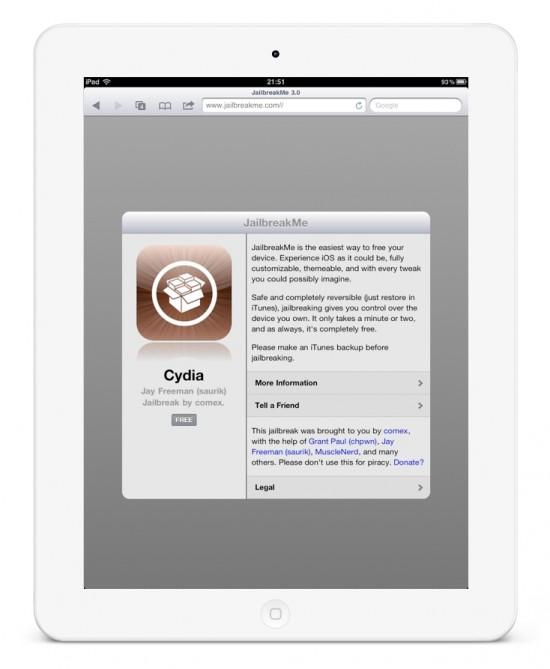 iPad 2 Jailbreak Jailbreakme.com Cydia App Store