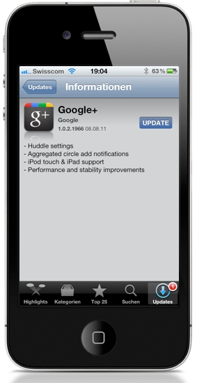 Google+ iOS App Update App Store Apple