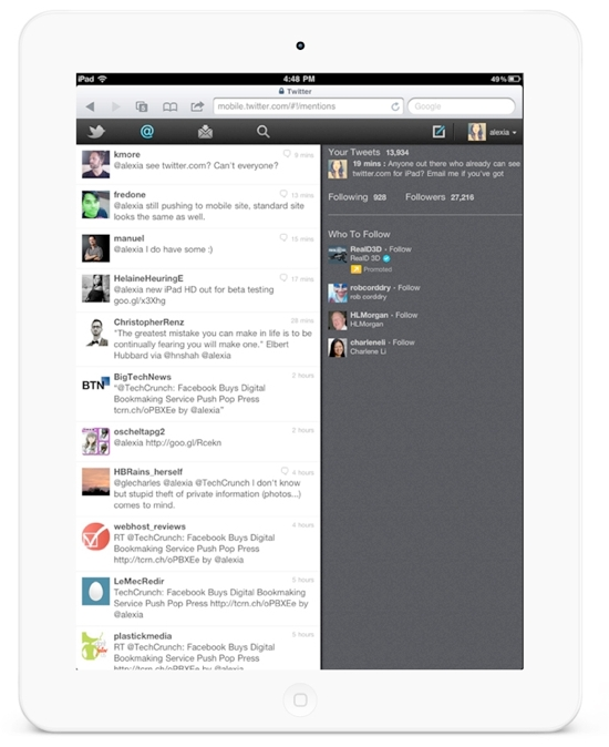 Twitter HTML5 for iPad