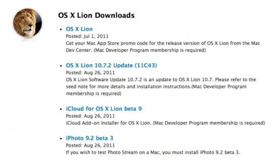 OS X 10.7.2 iCloud Beta Developer