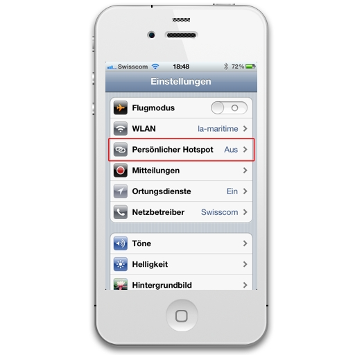 hotspot einrichten iphone
