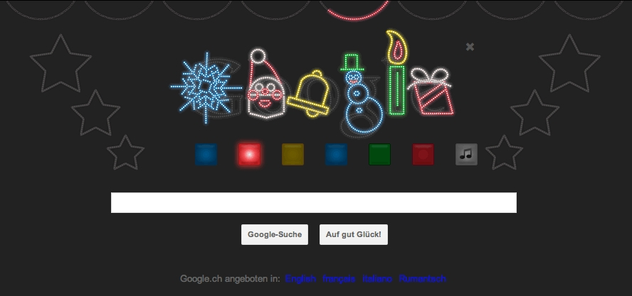 google doodle zu weihnachten lightshow. Black Bedroom Furniture Sets. Home Design Ideas