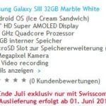 Samsung Galaxy SIII: 32GB Version exklusiv bei Swisscom