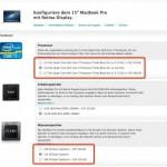 Neue Konfigurationsmöglichkeiten für das MacBook Pro mit Retina Display