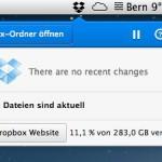 Dropbox Client mit neuem Menü
