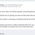 Facebook hat 1 Milliarde regelmässige Benutzer