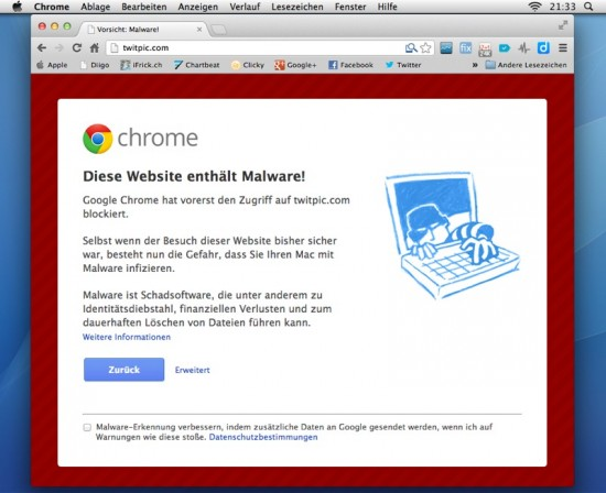 TwitPic Malware Chrome