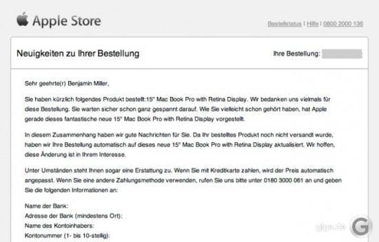 Apple Bestellung Mail
