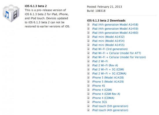 iOS 6.1.3 Beta 2