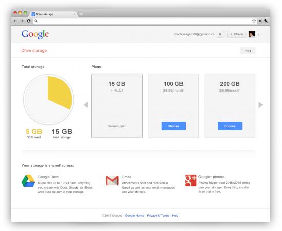 Google Storage Settings