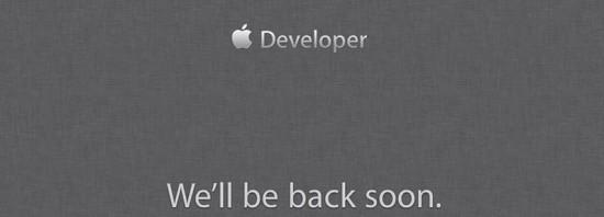 Apple Dev Portal Offline Notice
