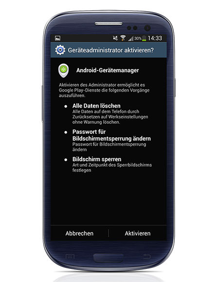 Android Device Manager Settings on SGS3