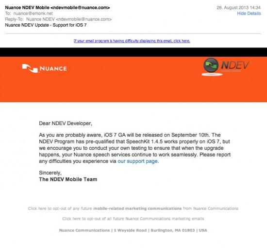 NUANCE iOS 7 Mail
