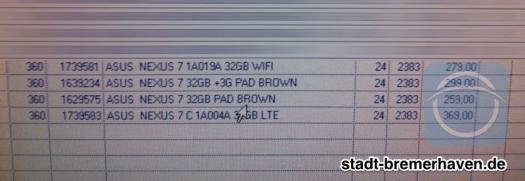 Nexus 7 Warensystem
