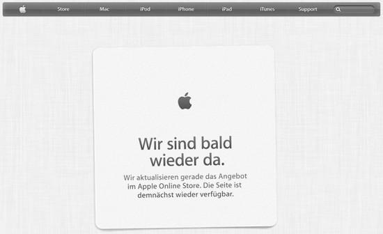 Apple Online Store Offline Meldung DE