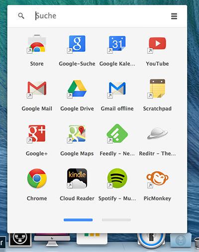 Chrome App Übersicht OS X Mac