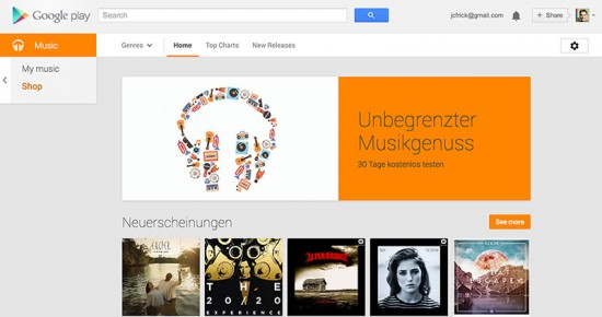 Google Music All Access Switzerland