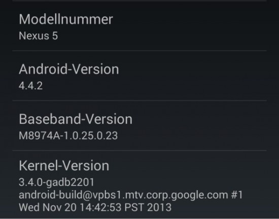Android 4.2.2 on Nexus 5