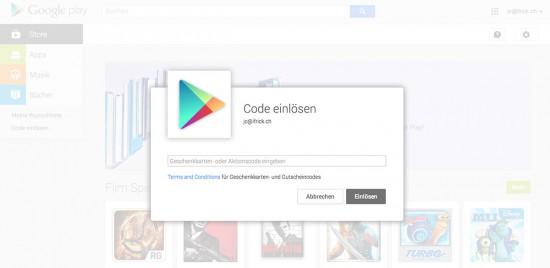 Google Play Guthabenkarten Schweiz