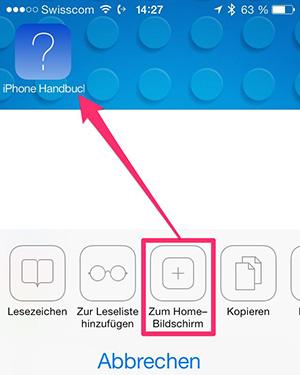 iPhone Handbuch auf Homescreen