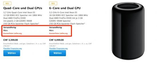 Mac Pro Lieferzeit