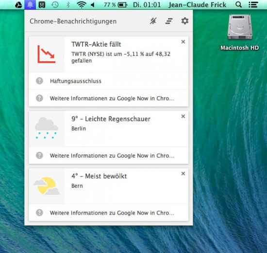 Google Now in OS X