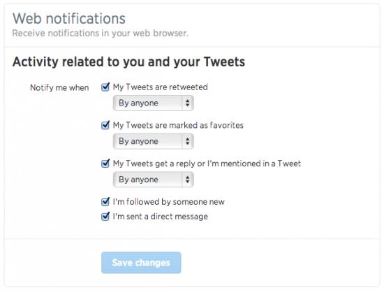 Twitter Notification Settings