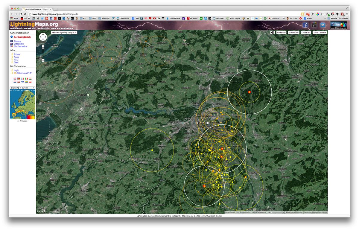 blitzeinschläge karte Blitzeinschläge in Echtzeit auf Google Maps anzeigen lassen