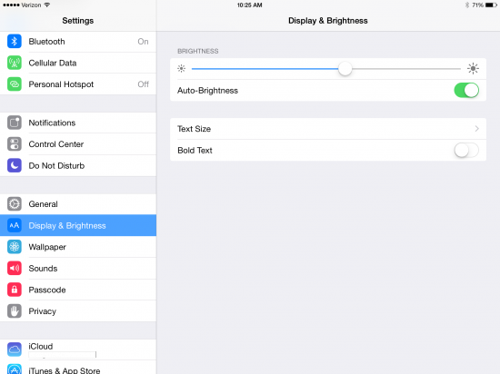 iOS 8 Beta 4 Display Settings