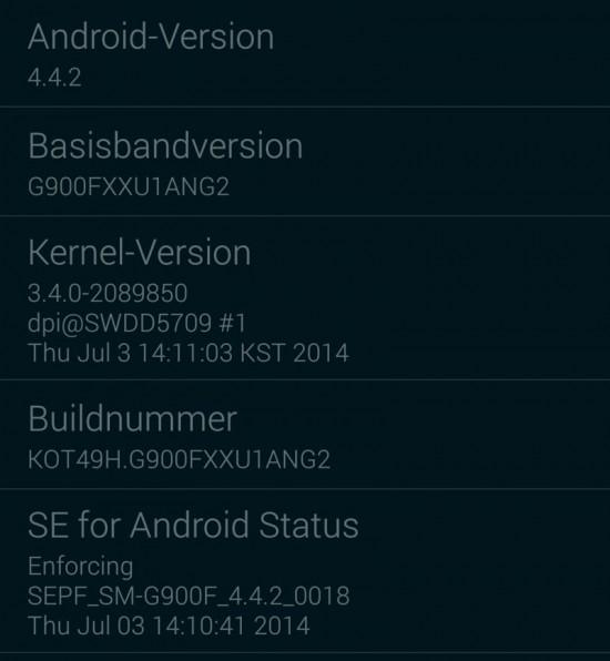 Samsung Galaxy S5 Firmware Update Infos