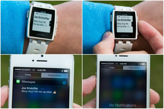 Pebble Benachrichtigungen iOS 8