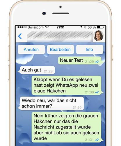 WhatsApp blaue Haken als Lesebestätigung