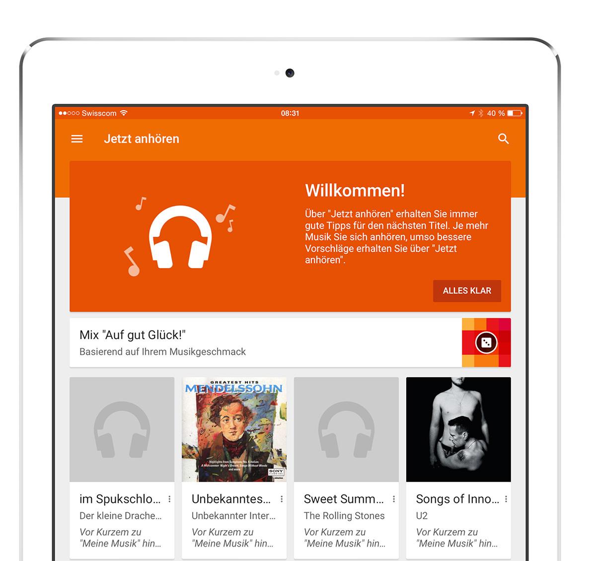 Google Play Music App nun auch für das iPad