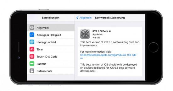 iOS 9.3 Beta 4 Installer