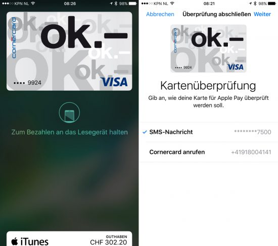 Apple Pay Visa OK Karte
