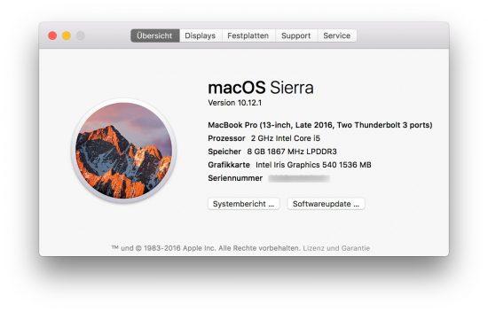 Spezifikationen MacBook Pro