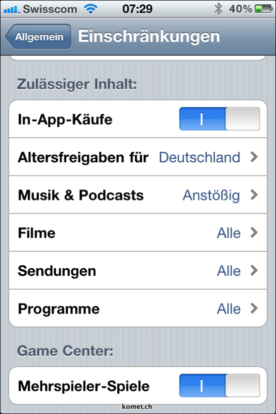iOS 4.1 Restrictions