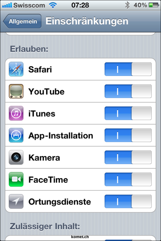iOS 4.1 Restrictions FaceTime