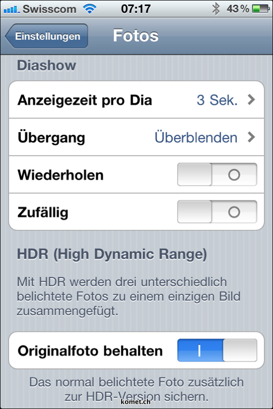 iOS4.1 HDR Settings