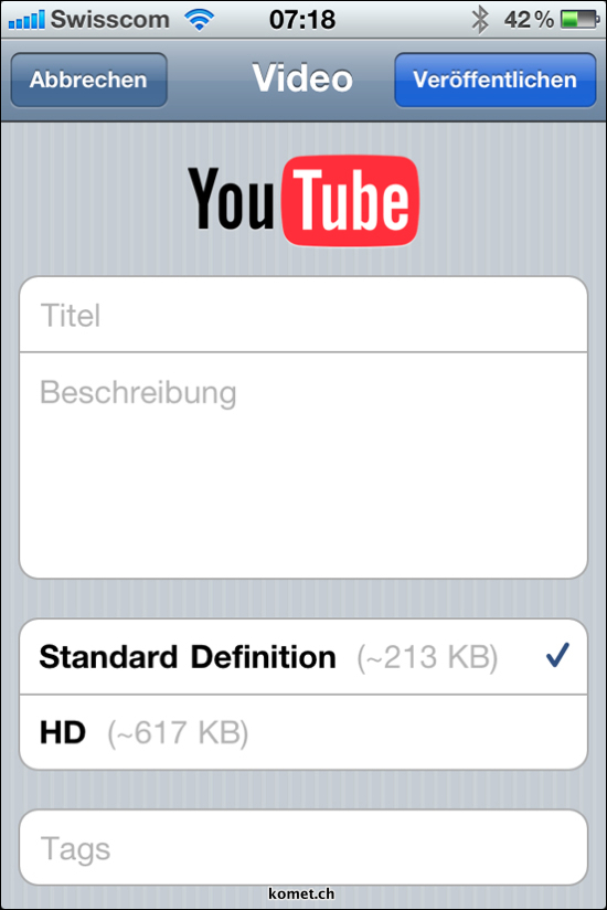 iOS 4.1 HD Video Upload Youtube
